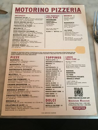 Motorino - menu
