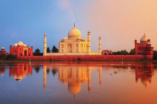 Taj Mahal ved soloppgang og Agra...