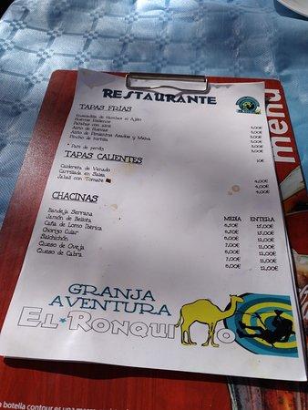 Granja Aventura El Ronquillo: Carta Restaurante