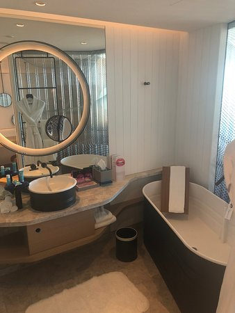 Funky Bathroom Design Bathtub Is Very Large But Unusual Being A Metal Sided Structure Picture Of W Brisbane Tripadvisor