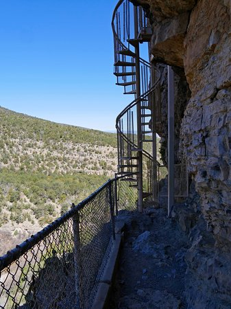 Placitas, NM: The spiral staircase up to the cave.