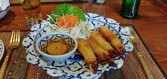 Prawn Spring Rolls with chilli dip.  Yum!