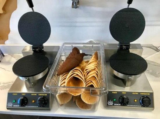 Fresh made waffle cones