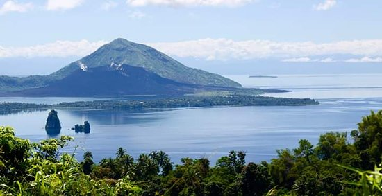 A wonderful view of the Rabaul Simpson Harbor with the still active Volcano, Mt Tavurvur in the background