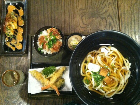 Tanuki Udon and Mini Tatsuta chicken bowl with a side of shrimp tempura and vegetable tempura, along with side order of crispy spicy shrimp tempura.