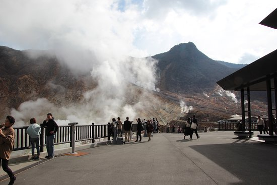 Owaku-dani Valley: 噴煙を見る観光客