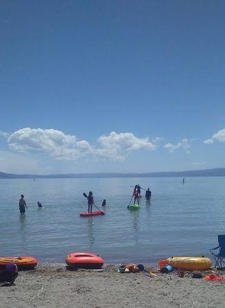 Waffle Den and Bakery: Great location for family reunions. Lots of boating activity. This group is enjoying kayaks and rubber rafts. Many ski doos and larger boats on the lake today. What a beautiful day to enjoy the summer. 2018 This is at the North Shore Idaho State Park.
