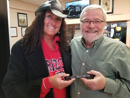 My wife with the owner of the Inn, Mike, presenting him a rail road spike from our neck of the woods down in Tombstone, az