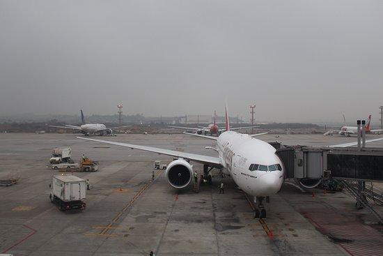 Emirates: Este es el imponente Boeing 777-200LR que me llevaría por las nubes hasta Santiago. De solo verlo se nota su grandeza. Había recién aterrizado proveniente desde Dubai. Recordemos que el vuelo es Dubai - Santiago de Chile con escala en el gran Sao Paulo.