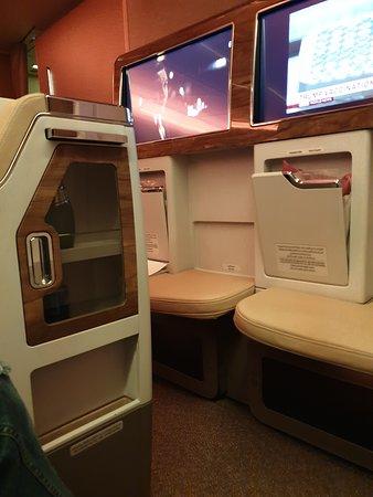 Emirates: El pequeño frigobar del cual les conté, realmente increíble. Venía ya en su interior unas dos gaseosas y un jugo natural.