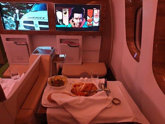 Emirates: El servicio de comida. No recuerdo con exactitud el nombre del plato pero era un pescado bañado en salsa, muy gourmet.