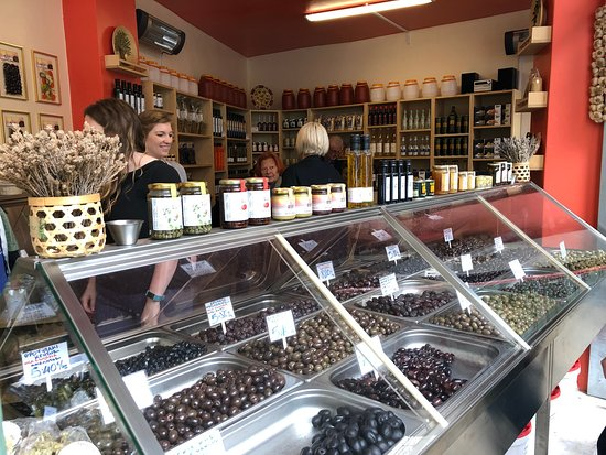Athens Market Shopping & Cooking Class: So many olives to choose from!
