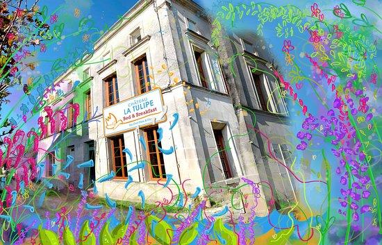 Asques, Frankrijk: Chateau La Tulipe B&B is een oud stenen gebouw, met vier kamers, aan de oever van de Dordogne. Op 3 km van Chateau La Tulipe, het wijnkasteel van Ilja en Klaas Gort.