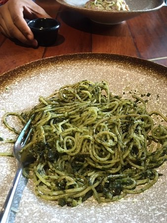 The Social, Empire Subang: spaghetti pesto with fresh pesto  parmesan and black olives