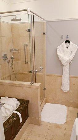 Club junior suite main bathroom, bath and separate walk-in shower
