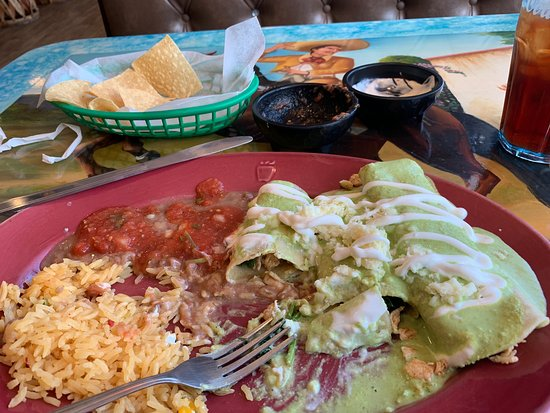 Windsor, VA: Chicken and spinach enchiladas with a creamy poblanos sauce