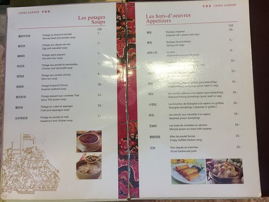 Menu Picture Of China Garden Geneva Tripadvisor