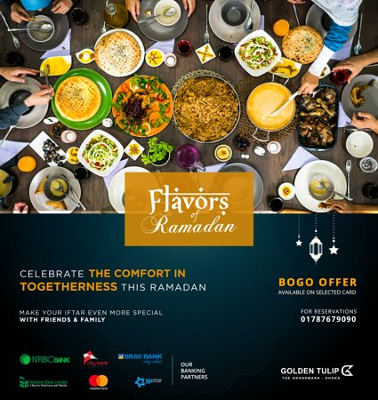 Enjoy the golden month of faith with delightful festivity. Enjoy our special Ramadan offering to satisfy your senses with your friends & family. For Reservations, please call: 01787679090