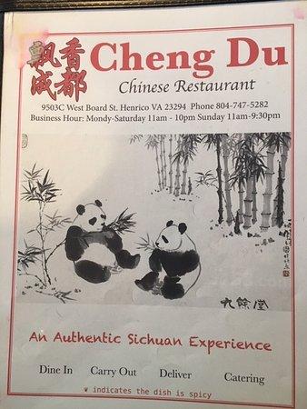 Henrico, NC: Menu of Cheng Du