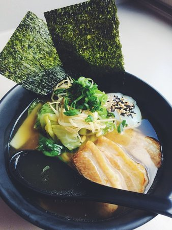 Chicken Ramen - chicken broth with slow roasted organic pork belly, cabbage, egg, spring onions and nori and ramen noodles