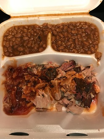 Williamson Brothers Bar-B-Q: 04-13-19 BBQ sandwich combo with beans (we also had buns).