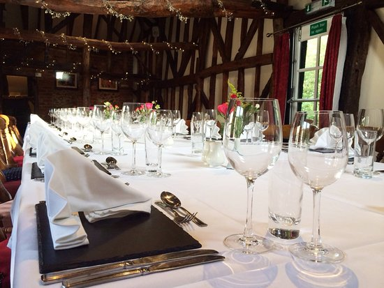 Sarratt, UK: The Old Barn Restaurant at the Cock Inn, Sarratt provides a lovely setting for a pub lunch or dinner. Available for private functions, wakes and weddings too