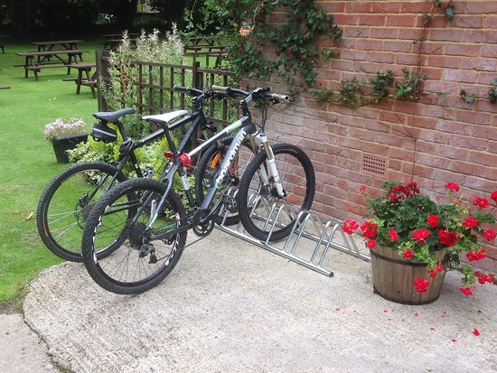 The Cock Inn Pub & Restaurant: Executive bicycle parking at the Cock Inn, Sarratt is popular with the many cycling groups that visit. There are some great rides around the area including the popular Chess Valley
