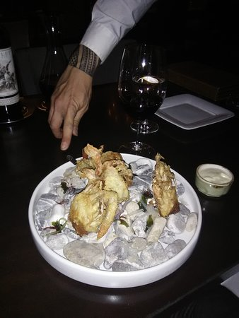 Bazaar Meat by Jose Andres: Crab tempura on the rocks