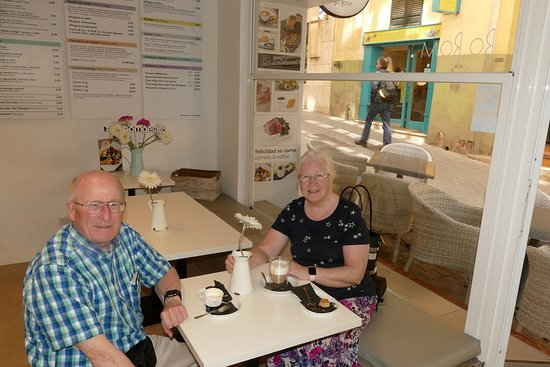 """Bo Bom Gelato: My wife and I enjoying coffee, Bo Bom ice-cream, and snacks.  Tired, but satisfied. Goal accomplished.  a """"moment of HAPPINESS"""" in Palma."""