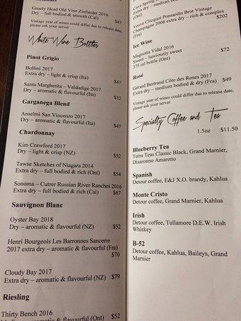 Wine List. Ten dollars off wine by the bottle on Sundays