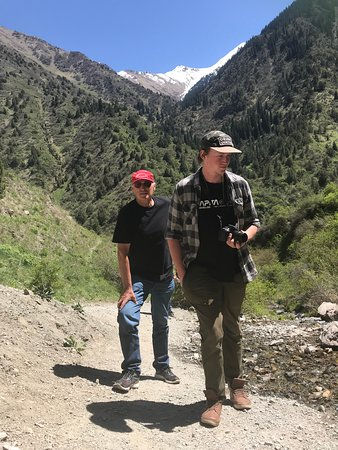 Father and son in Kegeti Gorge in Chuy region