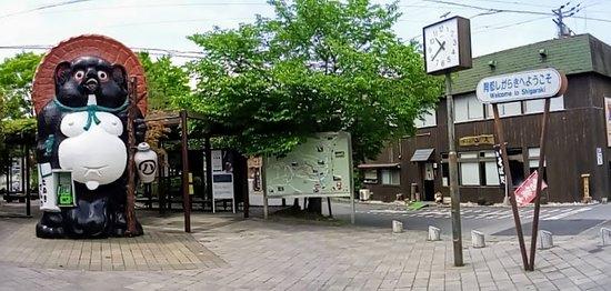 Outside the entrance to Shigaraki Station.