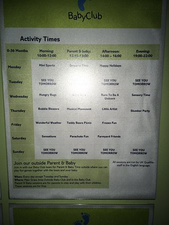 Baby club 0-3yrs timetable