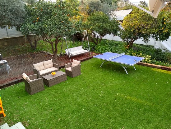 Yavne'el, Izrael: Lovely  Garden surrounded by citrus tree's, with a ping pong table, BBQ stand and outdoor furniture