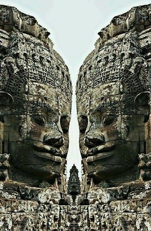 We are standing here and waiting for visiting us ( Bayon temples , Cambodia ).