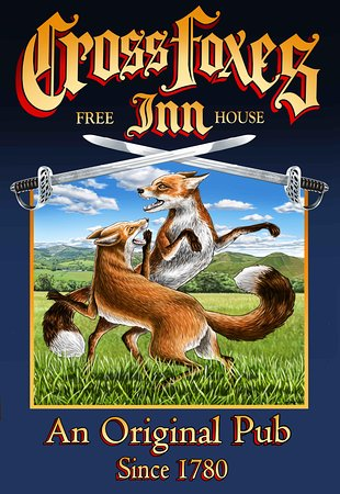 Nannerch, UK: Pub sign with the clwydians in the background, painted by a local resident, George Manley