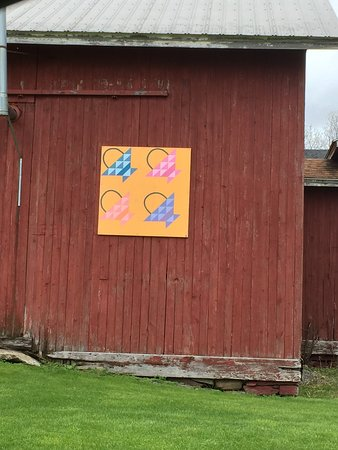 Le Roy, NY: Just west of the Leroy, NY center are a number of barns and homes which sport painted-on quilts. The story is that an artist was commissioned to do these as a bicentennial project and there are reportedly over 100. They even have tours. See visitgeneseeny.com for more info
