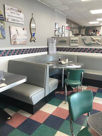Fabulous breakfast in a retro look cafe.