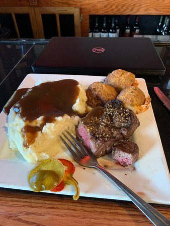 Stoneham, MA: Filet Mignon with stuffed Shrimp on their Wednesday special