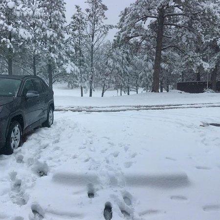 Bavarian Inn, Black Hills: When we arrived the snow was already getting deep!