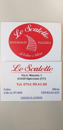 Sipicciano, Włochy: Biglietto da visita della Pizzeria Le Scalette
