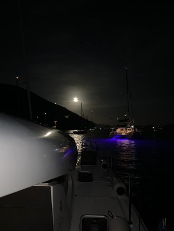 "Double moon at Jost Van Dyke ""The late show with our Moon"" on Board Bang Bang Lulu"