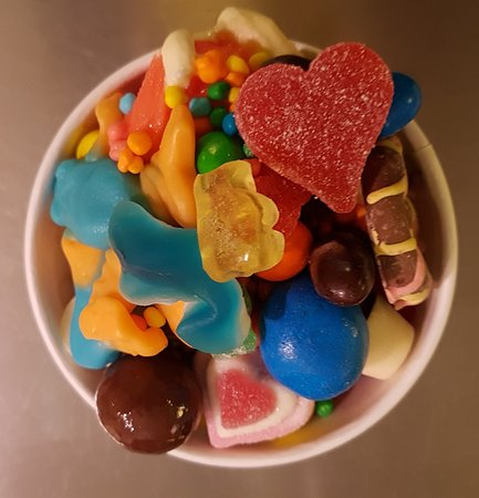 Somewhere underneath all those toppings, there's some froyo!