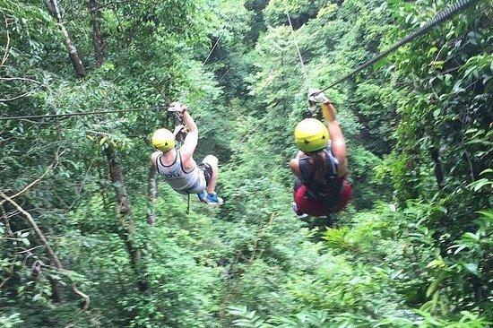 在苏梅岛,泰国的邮编线冒险。五星级体验!!秘密瀑布