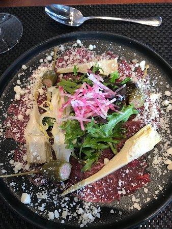 Blom Restaurant: En hærlig Okse Carpaccio - kjøttet var bemerkelsesverdig godt
