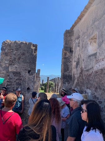 Norwegian Jade clients visiting Pompeii with one of the best tour guides, Vince