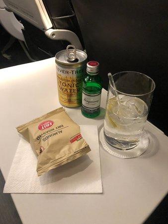 British Airways: Almonds and G&T.