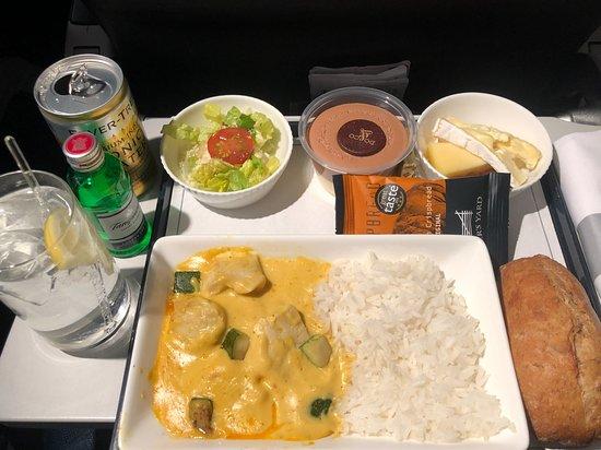 British Airways: Delicious dinner on board BA786.