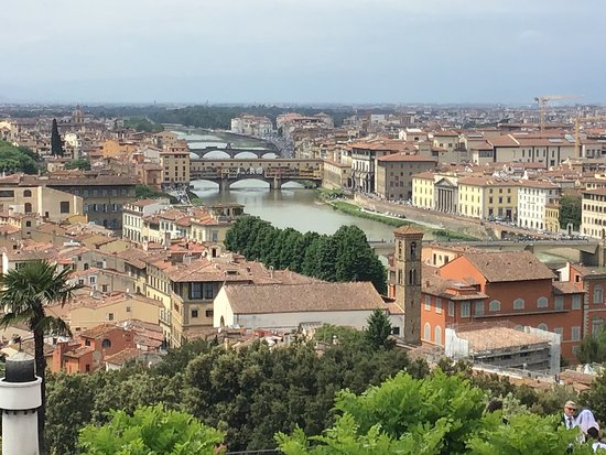 Ponte Vecchio can be clearly seen straddling the river from this wonderful vantage point.