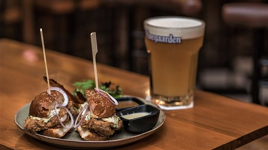 Great Fried Chicken burger & a nice cold beer